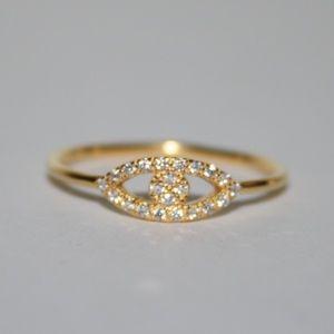 .925 Sterling Silver gold Evil Eye CZ ring NWT